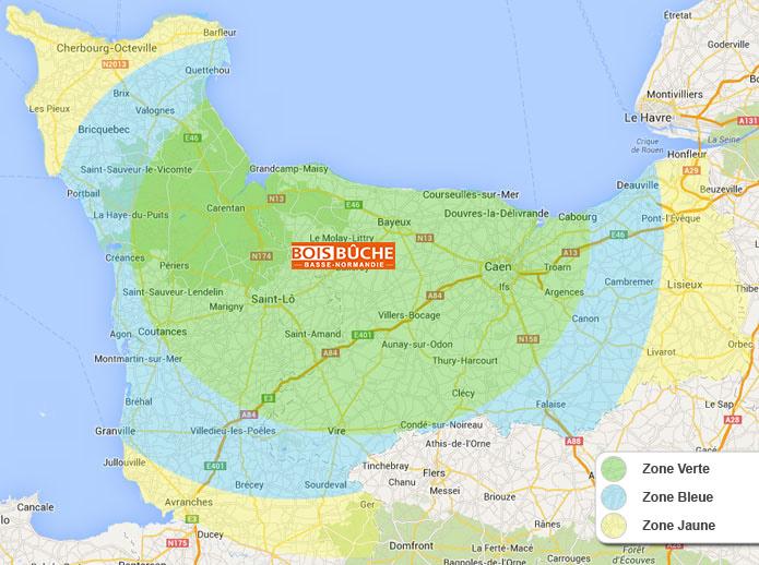 Zones de livraison bois de chauffage Bois Buche Basse Normandie